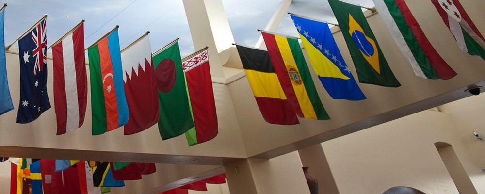 Photo of international flags hanging at the UA Student Union Memorial Center