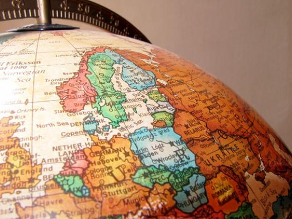 Photo of a globe showing European region